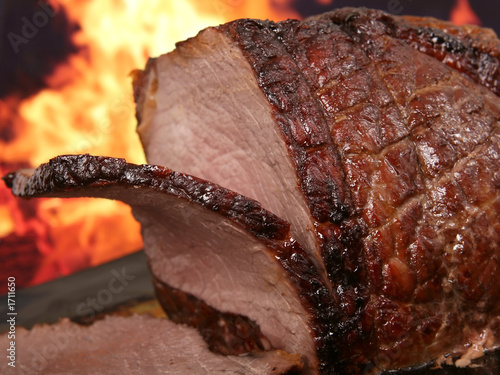 Fotografie, Obraz  english roast meat by fire with flames