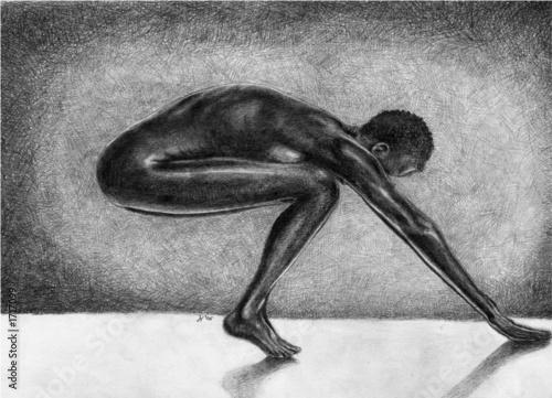 ilustracja-z-nagim-rozciagajacym-sie-czarnoskorym-mezczyzna