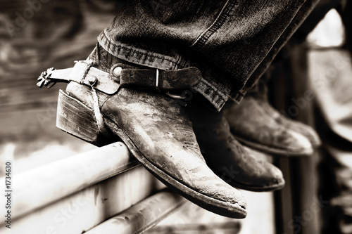 Fotografia, Obraz  row of rodeo boots & spurs