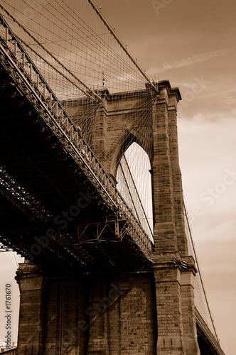 brooklyn bridge in sepia