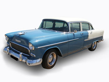 Blue Antique Shinning Cadillac Car - Isolated