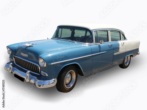 Stampa su Tela blue antique shinning cadillac car - isolated