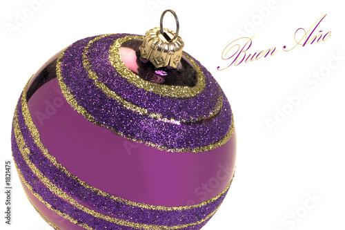 boule de noël violette et voeux espa - Buy this stock illustration ...