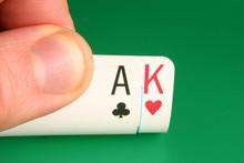 Looking At Ace King (big Slick) During A Poker Gam