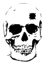 Bullet Hole Skull - Vector Ill...