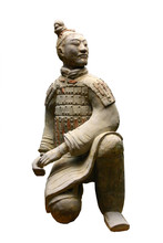 Isolated Terracotta Warrior (archer)