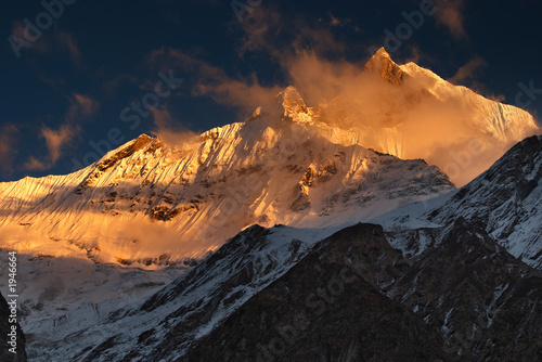 Fotografie, Obraz  sunset in himalaya