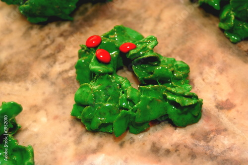 Holly Wreath Cookie Buy This Stock Photo And Explore Similar