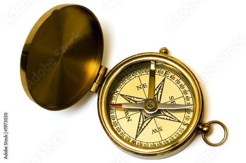 Keuken foto achterwand Schip old style brass compass on white background