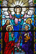 canvas print picture - stained glass window of christ and his disciples