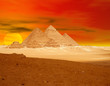 canvas print picture the pyramid sunset