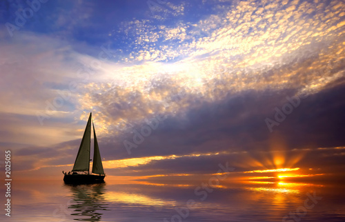 Leinwanddruck Bild - Eric Gevaert : sailing and sunset