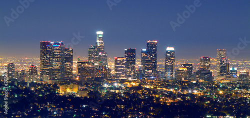 Plakat Los Angeles skyline w nocy