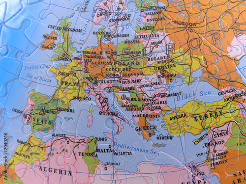 Deurstickers Oost Europa globe map puzzle - europe