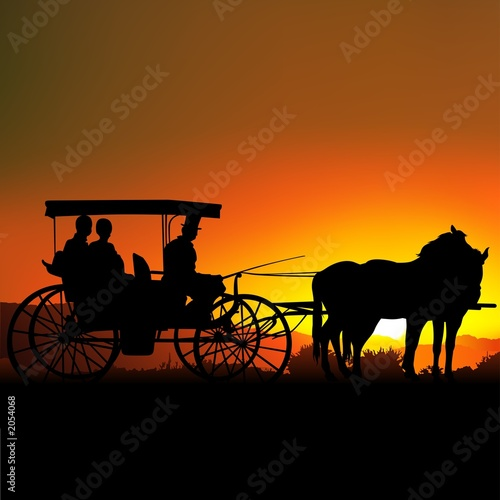 carriage silhouette a Fototapete