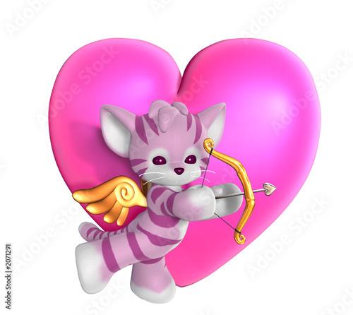 Foto-Plissee - cupid kitty with heart (von AlienCat)