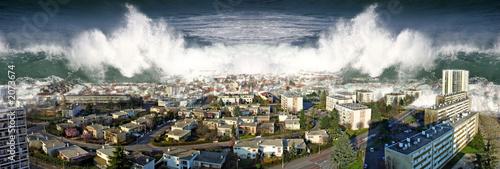 Fotografie, Obraz  raz de marée sur la ville