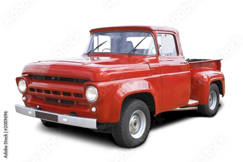 Photo  old red v8 pickup