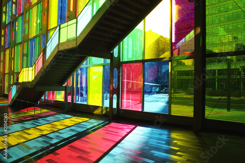 Fotografia, Obraz  stained glass windows and staircase