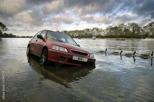 Fotografie, Obraz  car stranded in flood