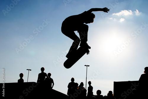 Fotografie, Obraz  jumping skateboarder silhouette
