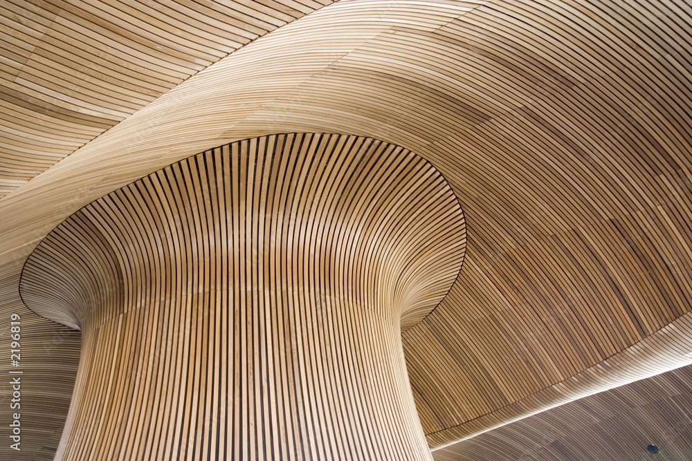 Fototapeta architectural details of welsh assembly building, cardiff bay, u