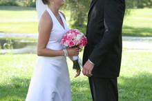 Bride Groom White Black Flower Tux Dress