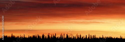 Fotobehang Rood paars couleurs nordiques - coucher de soleil