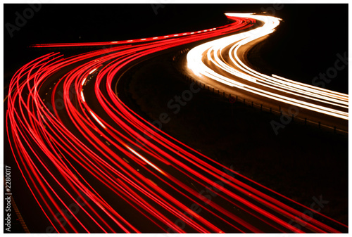 Poster Autoroute nuit night traffic