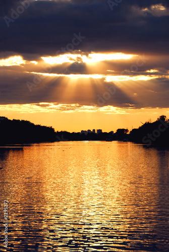 Foto-Schiebegardine Komplettsystem - sun rays