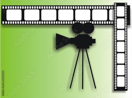Valokuva  green background with movie camera