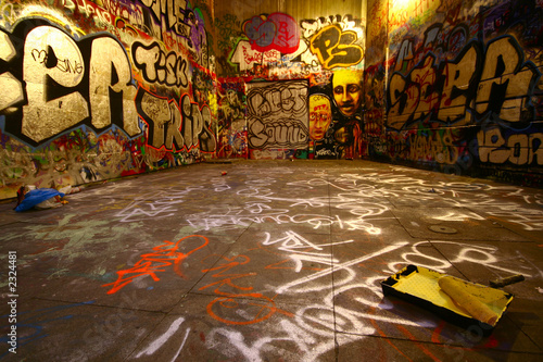 Aluminium Prints Graffiti graffiti wide angle with paint roller
