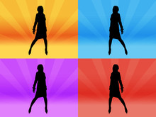 Girl Silhouettes With Differen...