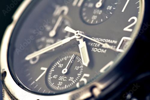 Fotografie, Obraz  montre chronographe de luxe en gros plan heure
