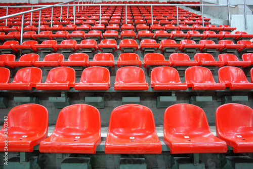 Fotobehang Stadion red sittings
