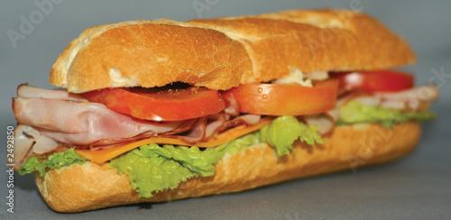 Staande foto Snack smoked ham sandwich