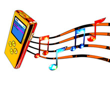 Gold Mp3 Player With Musical Notes