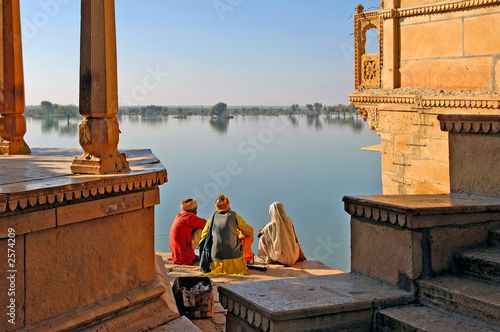 Fotobehang India india, rajasthan, jaisalmer: the lake near jaisalmer
