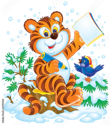 Printed kitchen splashbacks Zoo tiger and bird