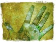 canvas print picture hand of chakra energy - green