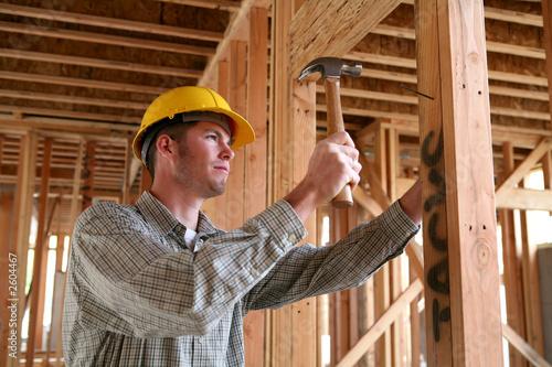 Fotografie, Obraz  construction man using hammer
