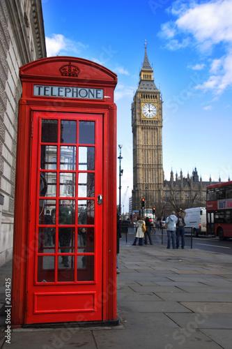 Foto-Flächenvorhang - phone box and big ben (von CJPhoto)