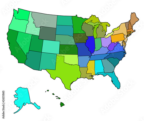 map of the usa with alaska and hawaii inset - Buy this stock ...