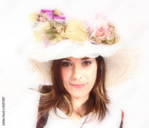 Fotografie, Obraz  beautifully southern belle in fashion hat and makeup