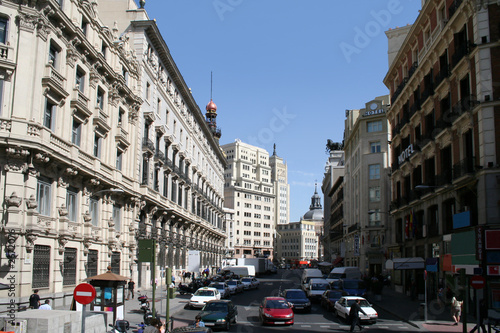sevilla street in the center of madrid with a contrast of alight