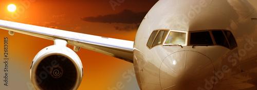 Türaufkleber Flugzeug airplane flying, sunset
