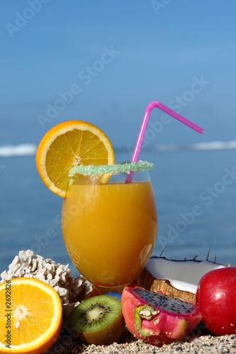 Keuken foto achterwand Sap jus de fruit et noix de coco