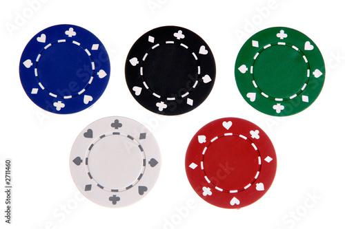 Fotografie, Obraz  five gambling chips