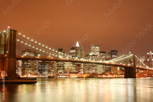 Foto-Kassettenrollo premium - brooklyn bridge and manhattan skyline at night