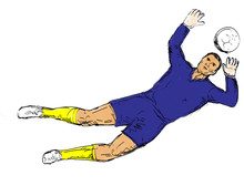 Soccer Goal Keeper Defending G...